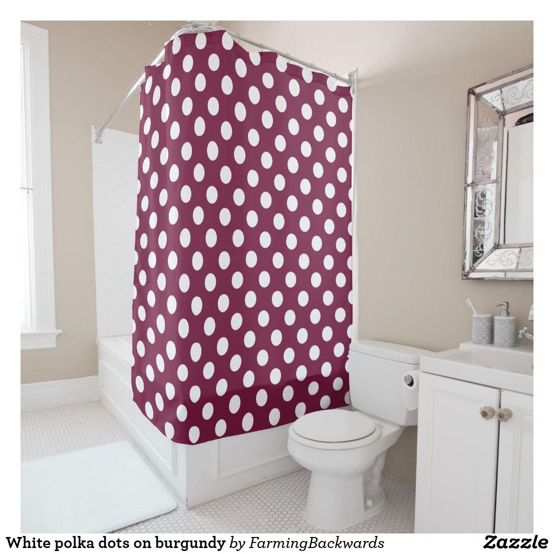 White polka dots on burgundy shower curtain   Bath shower and Bath