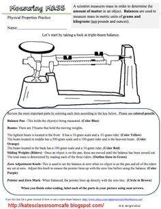 Triple Beam Balance Worksheet Problems | ... Science Classroom Cafe ...