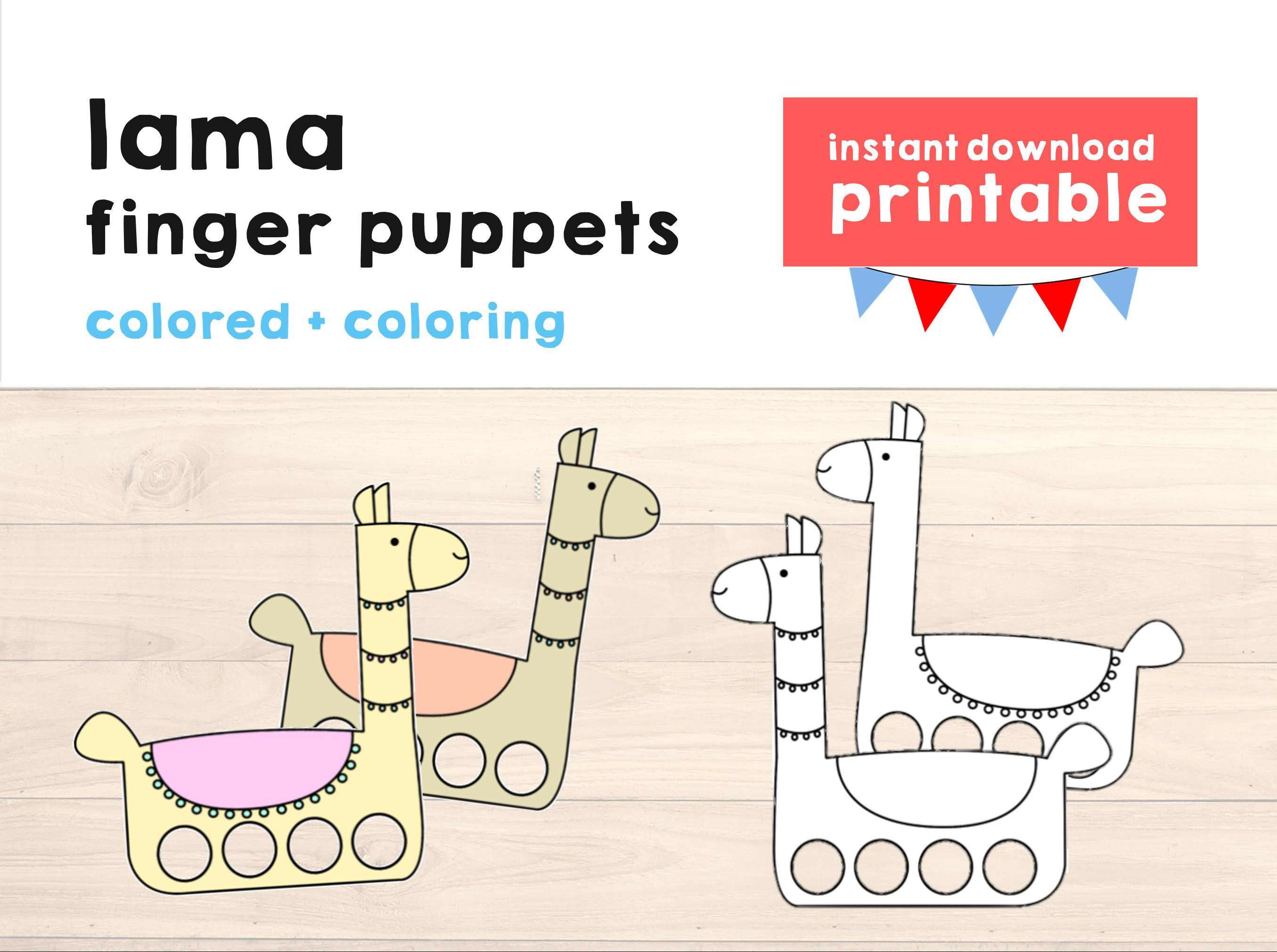 Lama Paper Craft Printable Finger Puppet Kids Craft Lama