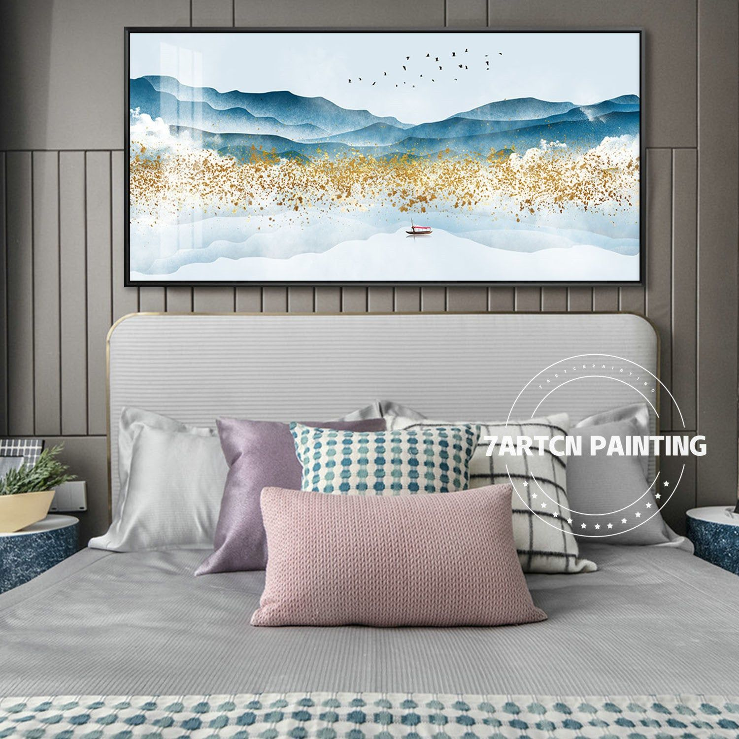abstract acrylic canvas painting blue mountain landscape on modern acrylic paintings for living room id=42913