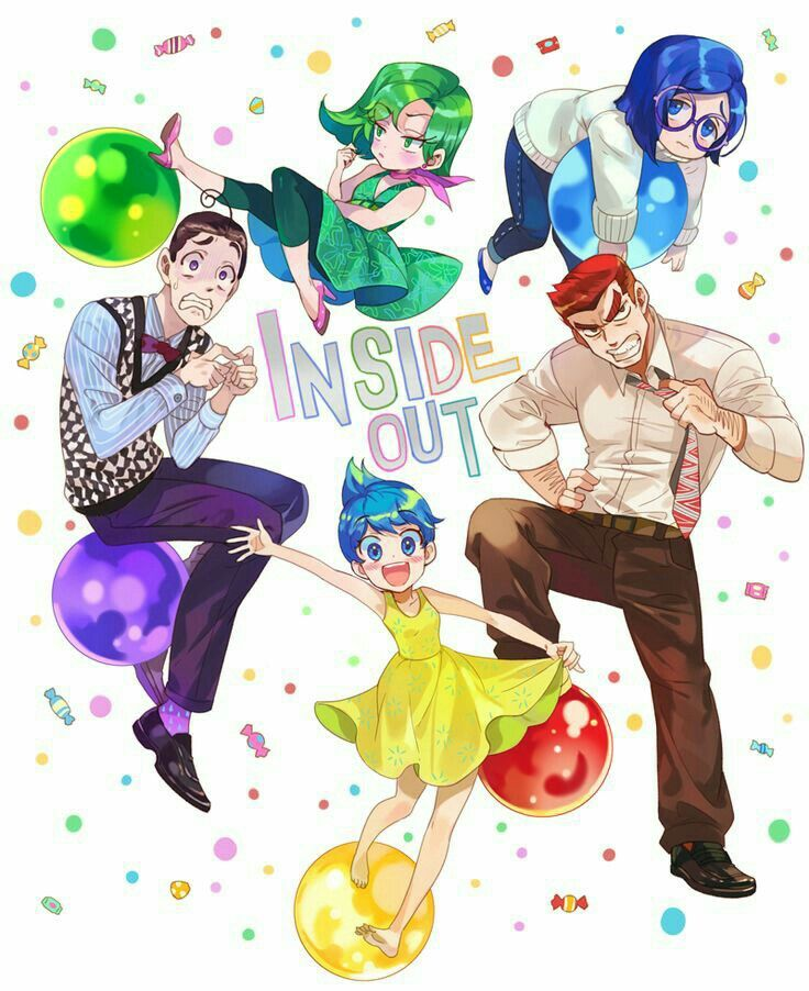Inside Out, text, Anime form, Sadness, Joy, Fear, Anger, Disgust, cute,  Pixar; Anime