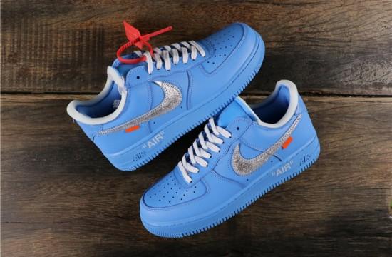 Off White X Nike Air Force 1 Mca Blue Ci1173 400 Nike Shoes Air Force Air Force One Shoes Nike Fashion Shoes
