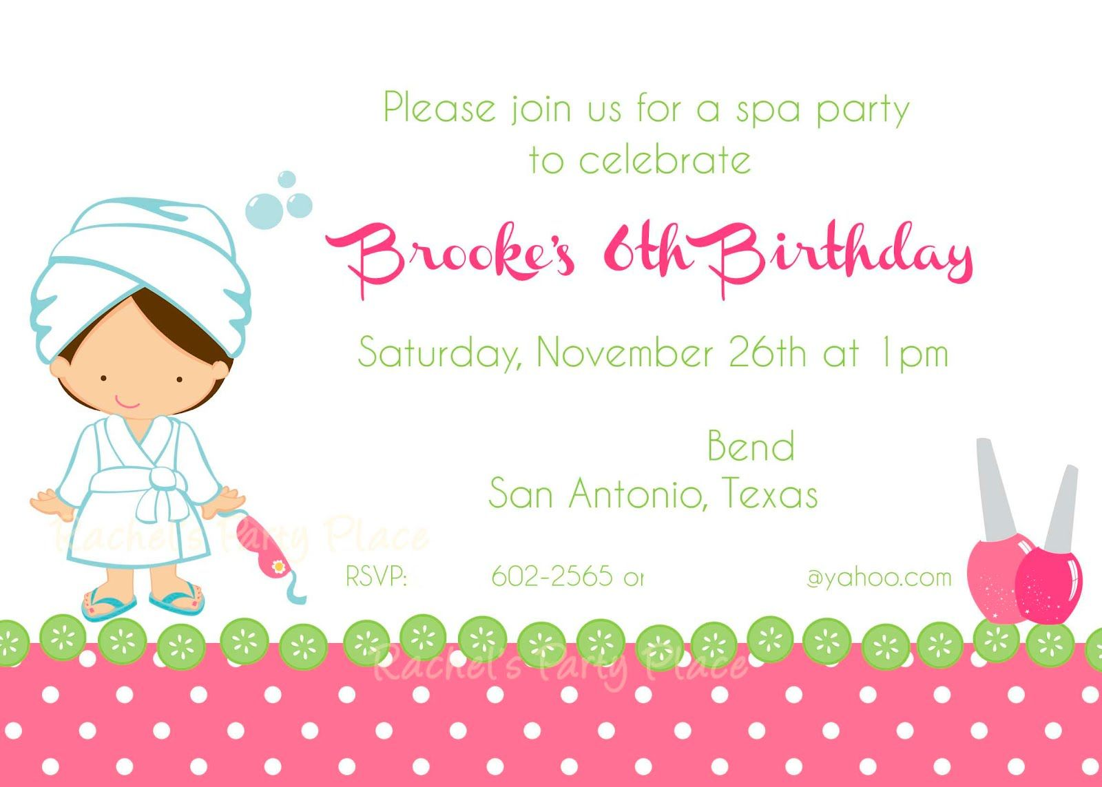 spa party ideas – Girls Spa Party Invitations