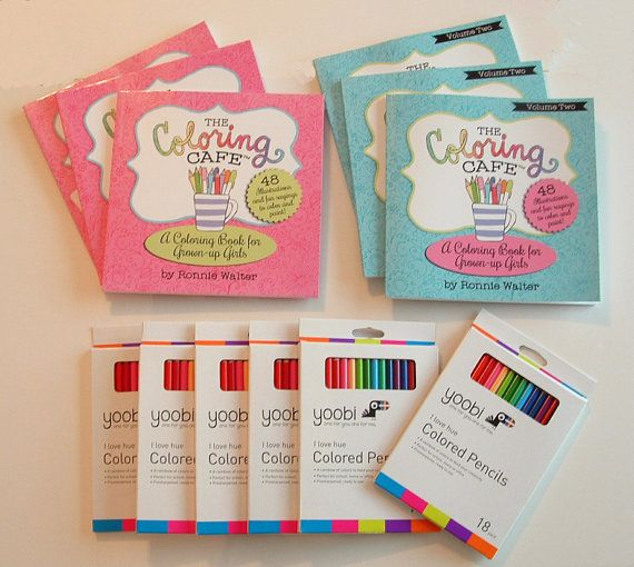 The Coloring Cafe Party Pack Host A Buy 5 Get 6th Free Adult Book Kits