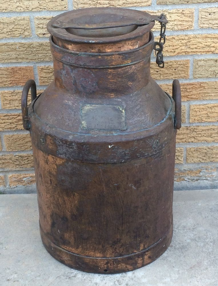 Antique Copper Milk Can Large 1920 Spanish Spain Tambo Lionel Lobos Milk Cans Antique Copper Antiques