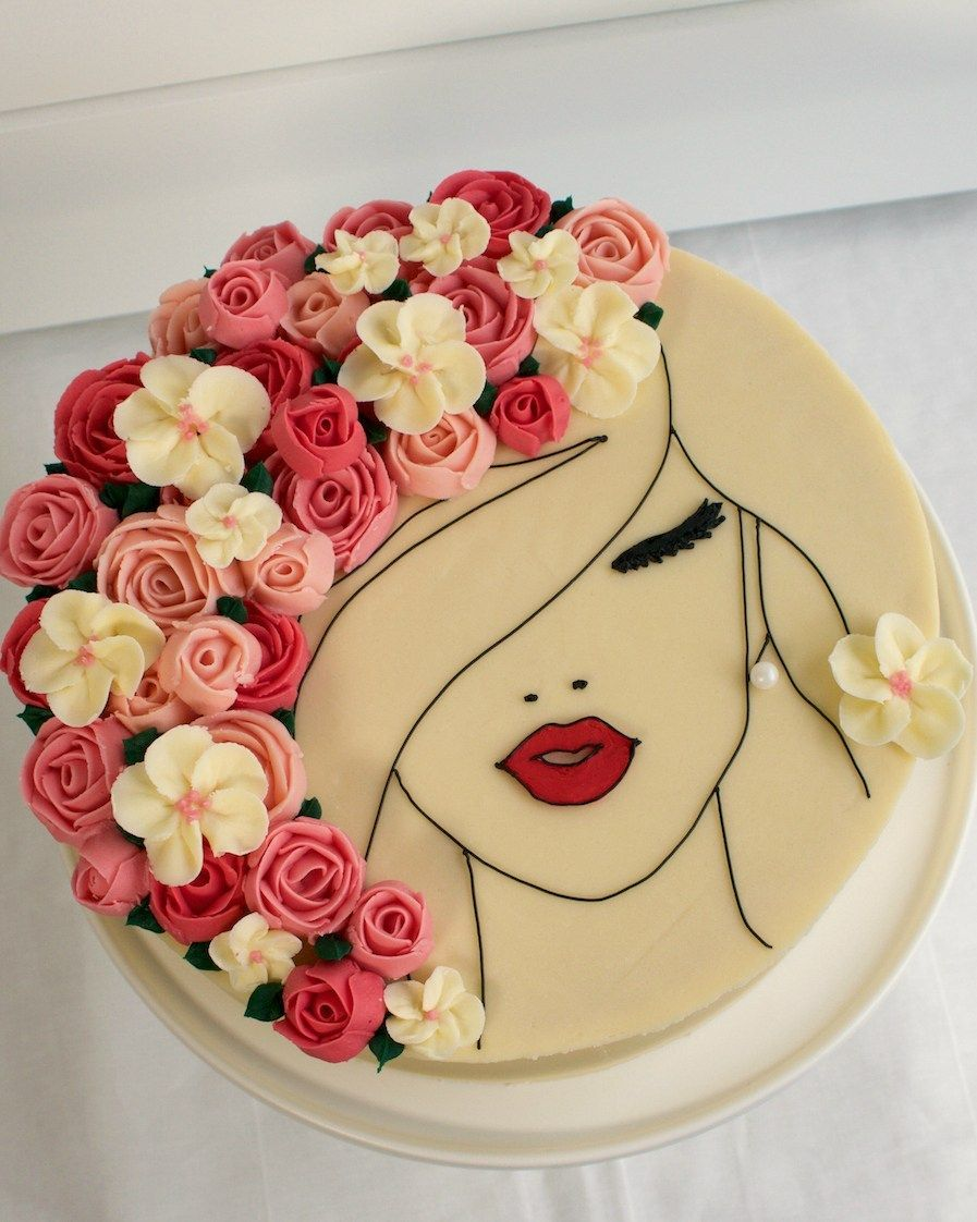 A Floral Face Cake Made Of Gorgeous Buttercream Roses Cake Style Cake Cake Decorating Techniques Cake Decorating