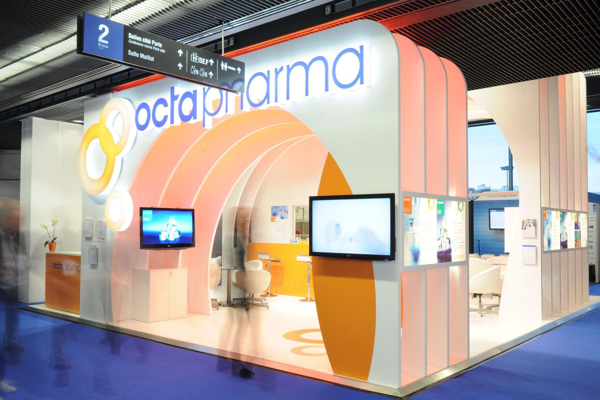 octapharma esicm paris 2013 pro expo exhibition stand design building we provided efficient. Black Bedroom Furniture Sets. Home Design Ideas