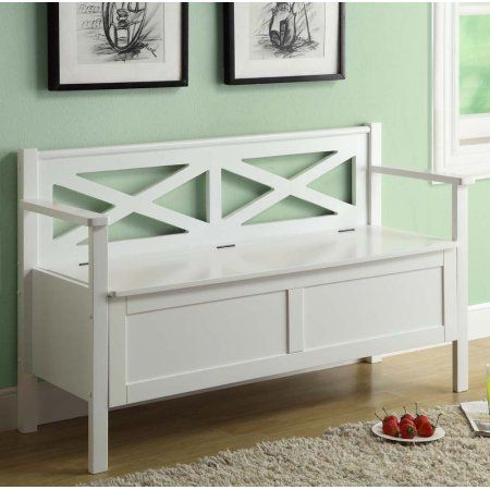 Monarch Specialties 4504 50 Inch Storage Bench In White Can Put