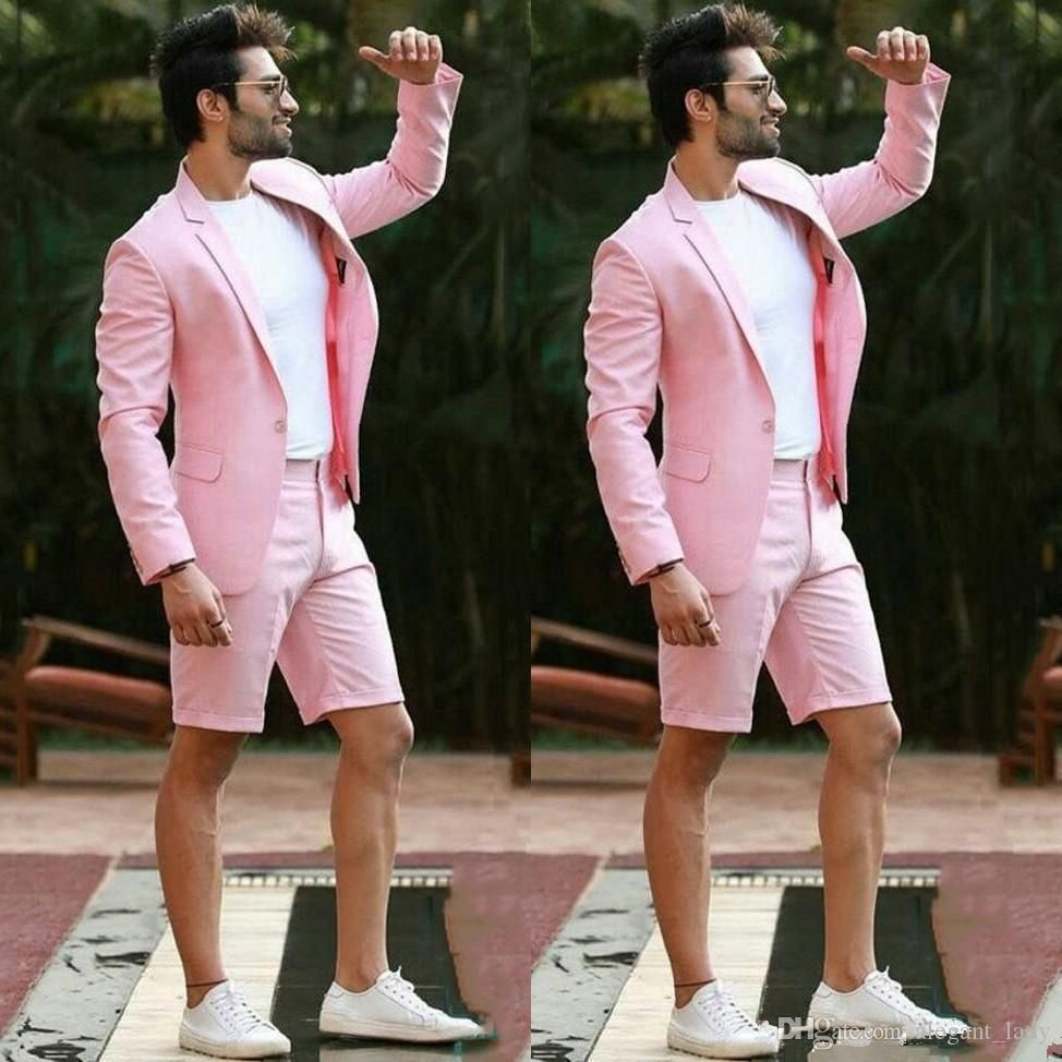 Modern Pink Wedding Men Suit With Short Pants Formal Business Terno Masculino Beach Mens Summer Beach Groom Wear Suits Jacket Pants Mens Prom Mens Wedding Tux F White Wedding Suits For Men