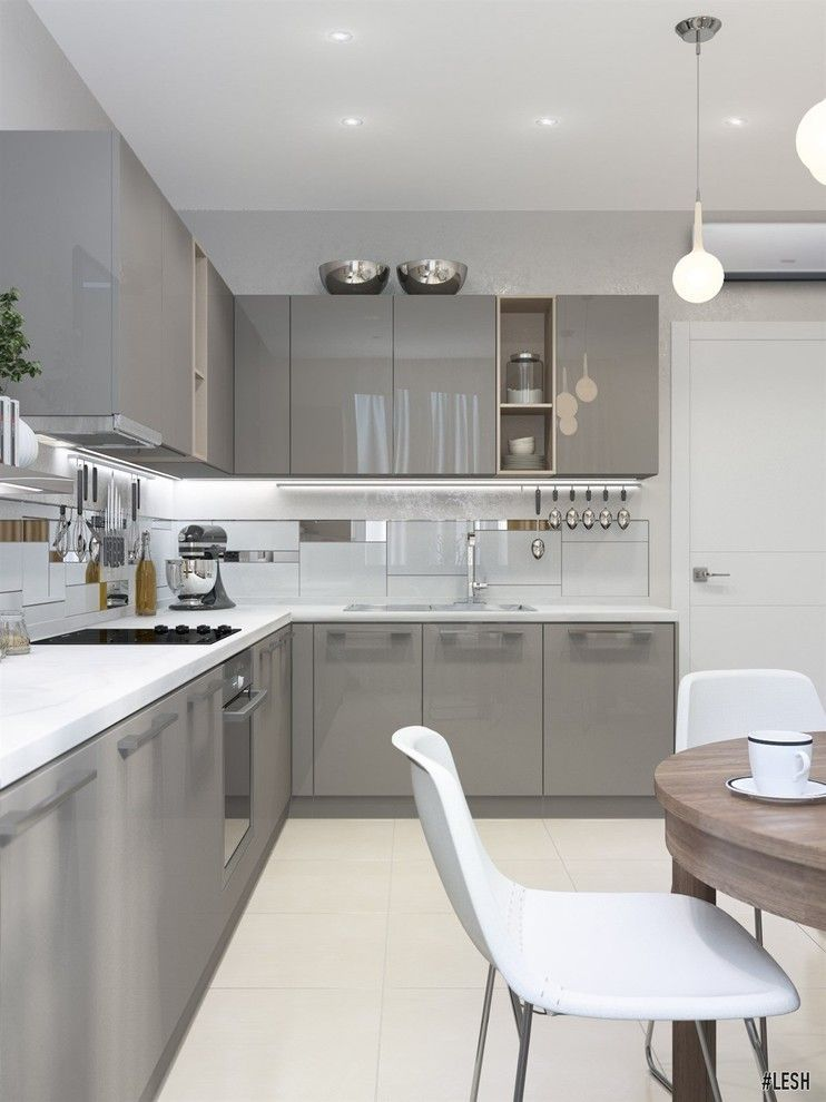 25 Grey Kitchen Ideas Modern Accent Grey Kitchen Design Modern Kitchen Cabinet Design Grey Kitchen Designs Contemporary Kitchen Design
