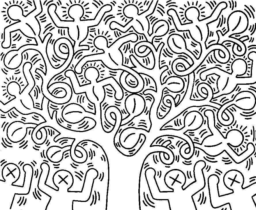 Coloriage adulte keith haring l 39 arbre de vie why can 39 t for Keith haring figure templates