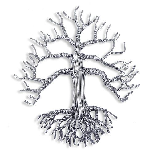 Hand Crafted Aluminum Wire Tree of Life Wall Sculpture