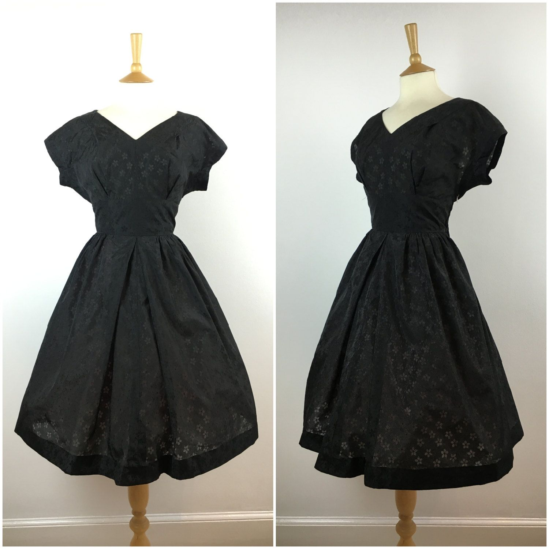 Vintage black s evening dress s swing dress s cocktail