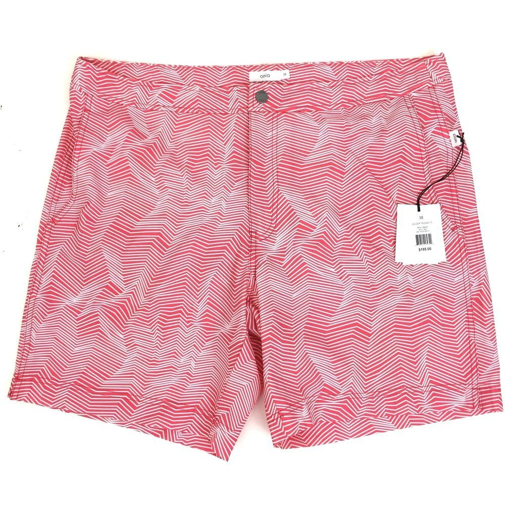 804311d148027 Onia Calder Men's Board Shorts Swim Trunks Optic Lines Stripe 38 Dark Pink  White #Onia #BoardShorts