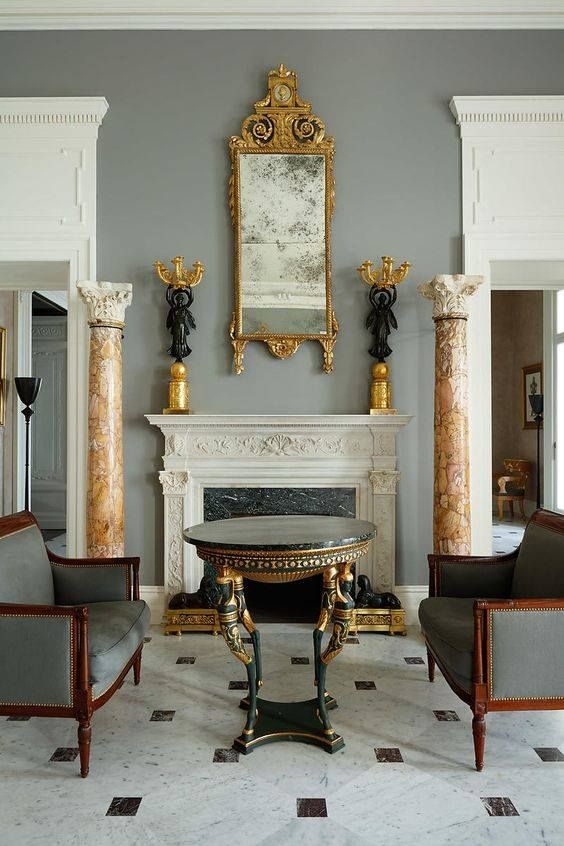 Drawing Room Setting: Empire, Directoire? Setting. Beautiful Marble Columns
