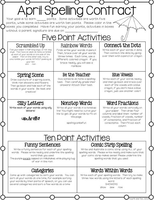 April Spelling Contract Classroom Ideas Pinterest Game - contract word