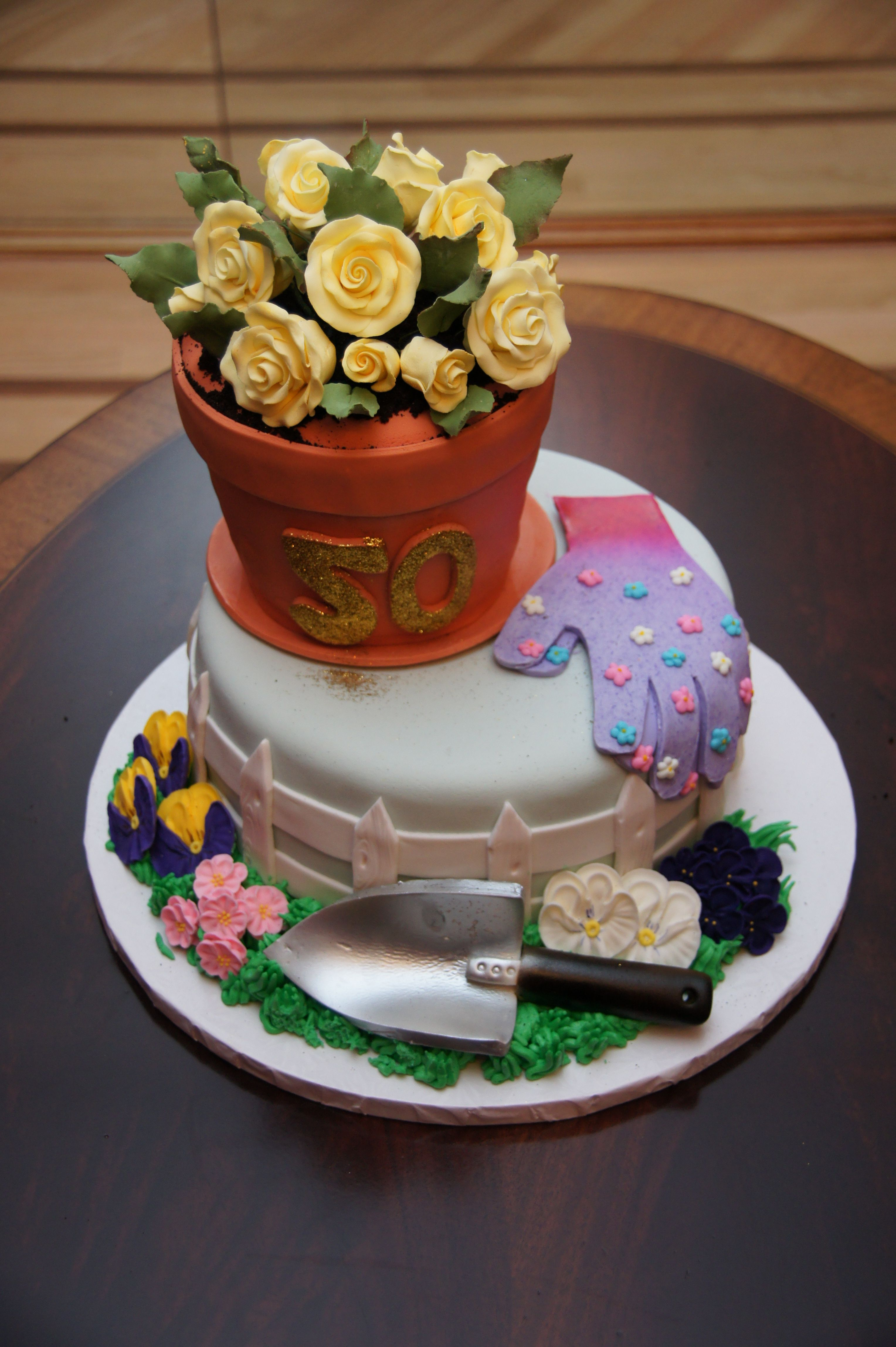 garden theme 50th birthday Flower pot cake, 90th