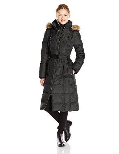 Larry Levine Women's Down Jacket with Faux Fur Trim Hood, Black ...
