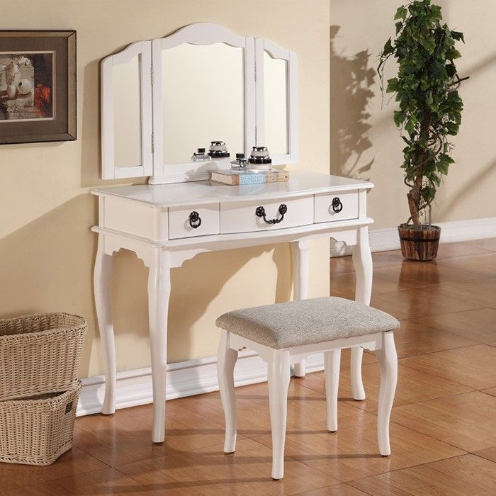 Tri Folding Mirror White Wood Vanity Set Makeup Table Dresser 3 Drawers  Bench