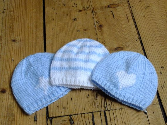 Premature Baby Hat Blue And White Stripe Knitted Beanie