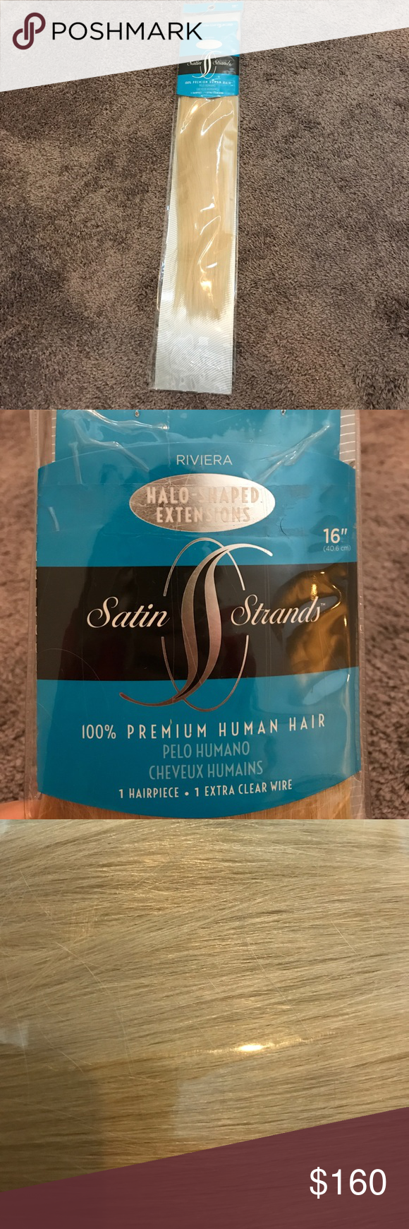 Riviera Satin Strands Halo Extensions Real Hair Brand New I Only