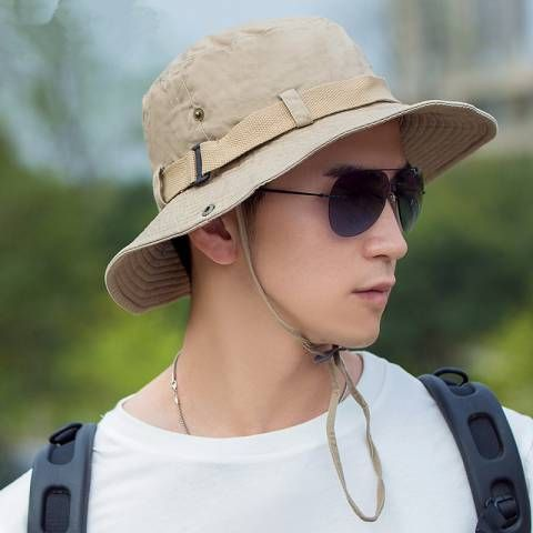 9c22bf9c583 Khaki fishing hat with string for men summer outdoor sun bucket hats ...