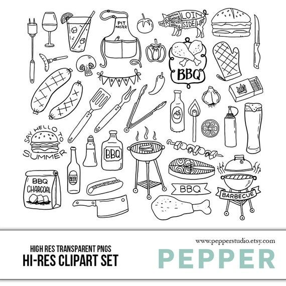 Summer Bbq Clipart Set Barbecue Grill Party Doodle Icons Blackline Color Eps Transparent Pngs In 2021 Doodle Icon Clip Art Doodles