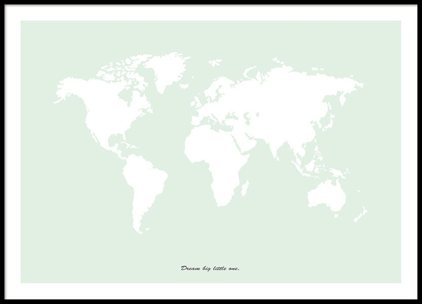 A light green print with a world map desenio childrens a light green print with a world map desenio gumiabroncs Images