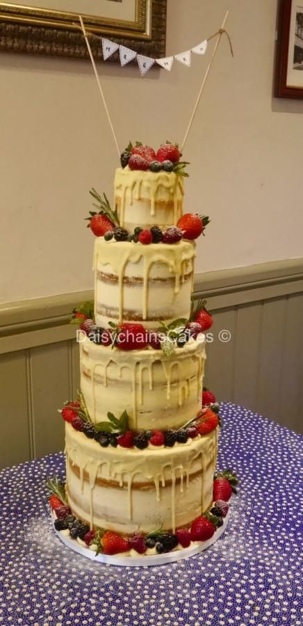 Semi naked drip wedding cake by Daisychain\'s Cakes - http ...
