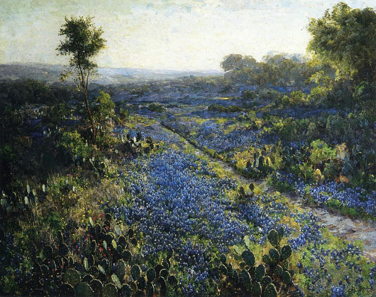 field-of-texas-bluebonnets-and-prickly-pear-cacti Artist: Robert Julian Onderdonk