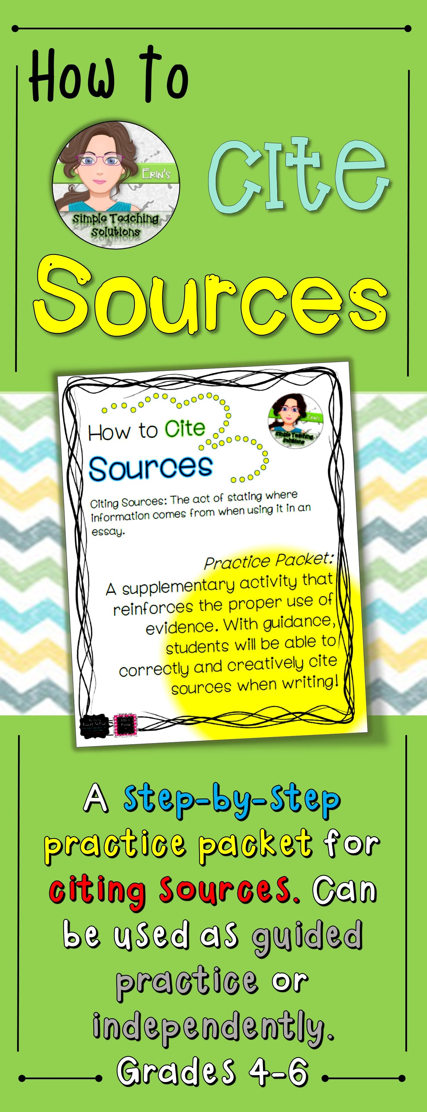 How To Cite Sources Practice Packet