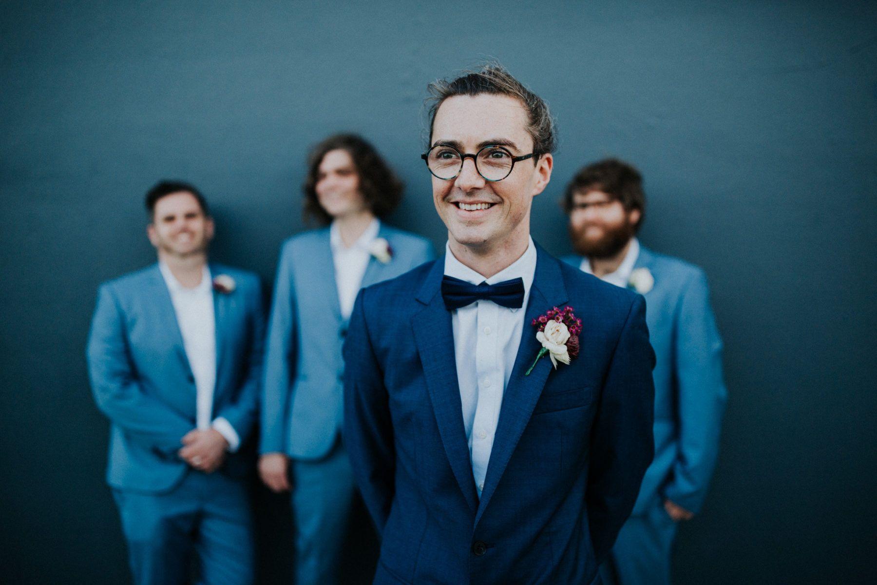Groom and groomsmen in mixed blue suits | Groom. | Pinterest