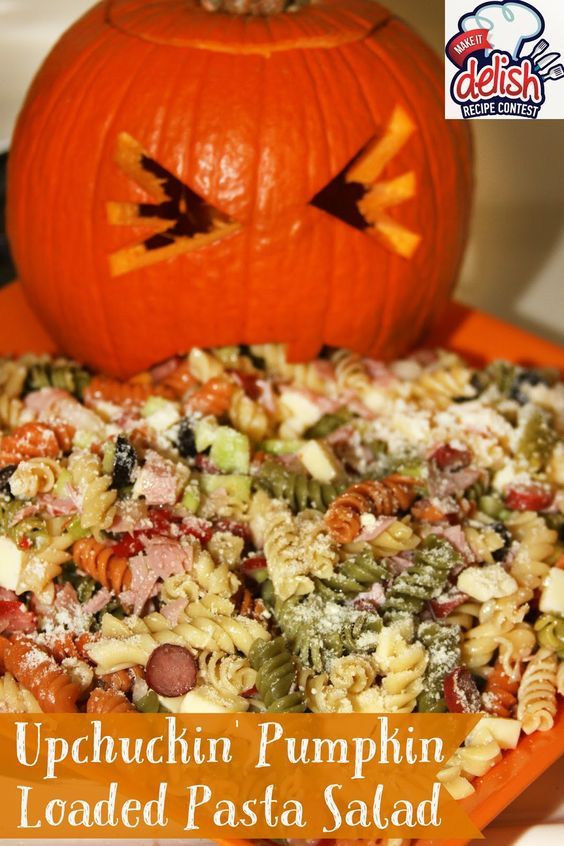 UpChuckin' Pumpkin Loaded Pasta Salad #halloweenpotluckideas