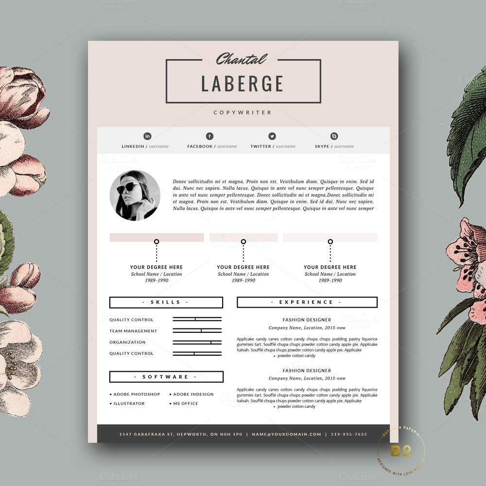 Page Resume Template For Ms Word By Botanica Paperie On Creative
