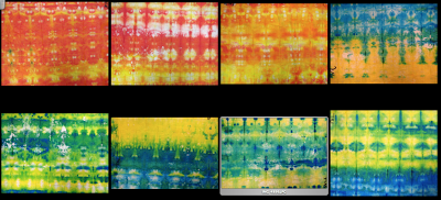 """Shibori: Japanese Resist Dye  Steps: 1) Write name on fabric with sharpie 2) Dip fabric in water and then wring it out 3) Lay flat on table and fold like an accordion (1"""" wide) 4) Place clothes pins on damp fabric in places you want to resist dye 5) Place compressed fabric in plastic tub and pick 2 of the 3 primary colors 6) Saturate the top of the fabric with dye 6) Turn fabric over to back and fill in any white spaces 7) let dry 8) Take off clothes pins, absorb any excess dye by pressing"""