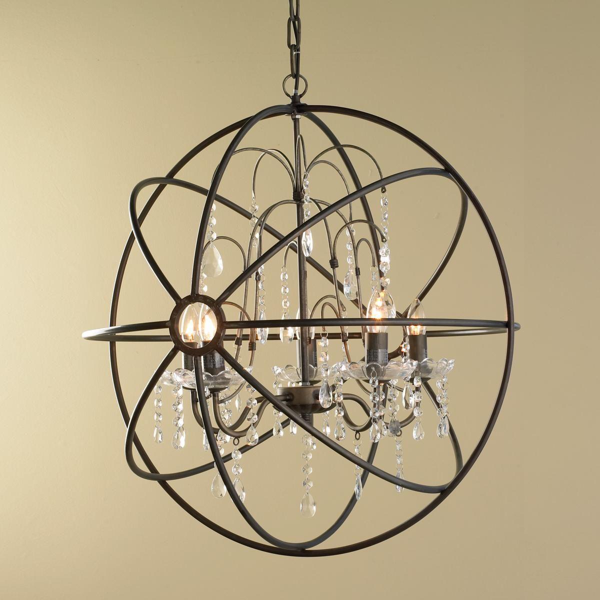 Modern Chandelier Globe 4 Light Metal Ceiling Fixture Round Orb Crystal Lighting