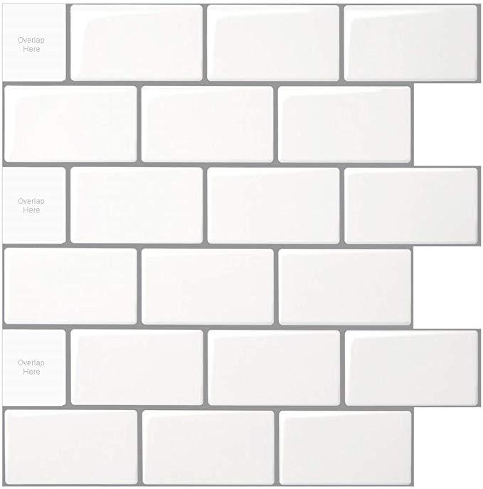 Amazon Com 10 Sheet Peel And Stick Tile For Kitchen Backsplash 12x12 Inches White Subway Tile With Grey Grout Home Kitchen Kitchen Backsplash Stick On Tiles Kitchen Tiles