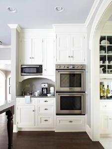 Bhg Butler S Pantry With Blue Ceiling Off White Kitchen Cabinets Double Ovens