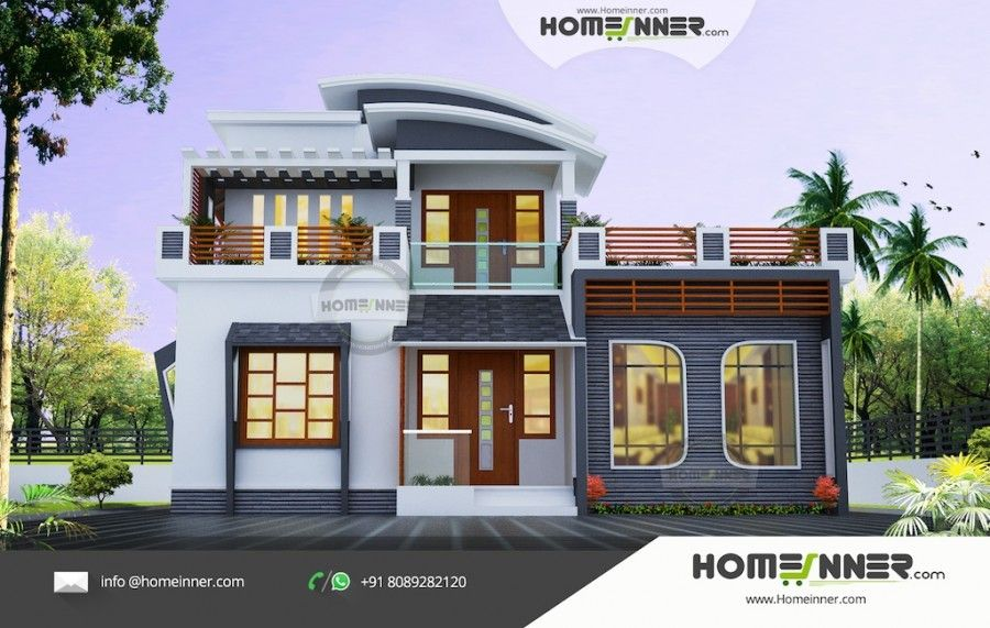 1678 Sq Ft 3 Bedroom Low Cost Indian House Design Beautiful House Plans Free House Plans House Design