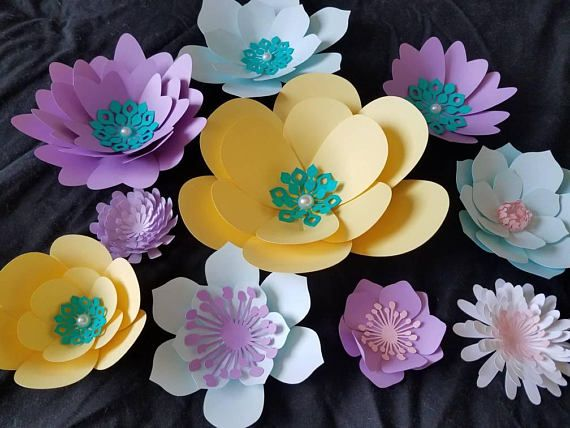 Set of 10 Small to Large Paper Flowers, Little Mermaid Theme Flowers ...