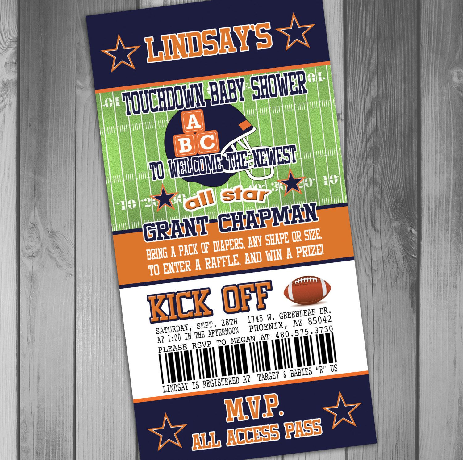 Chicago Bears Inspired Football Baby Shower by CLaceyDesign | Baby ...