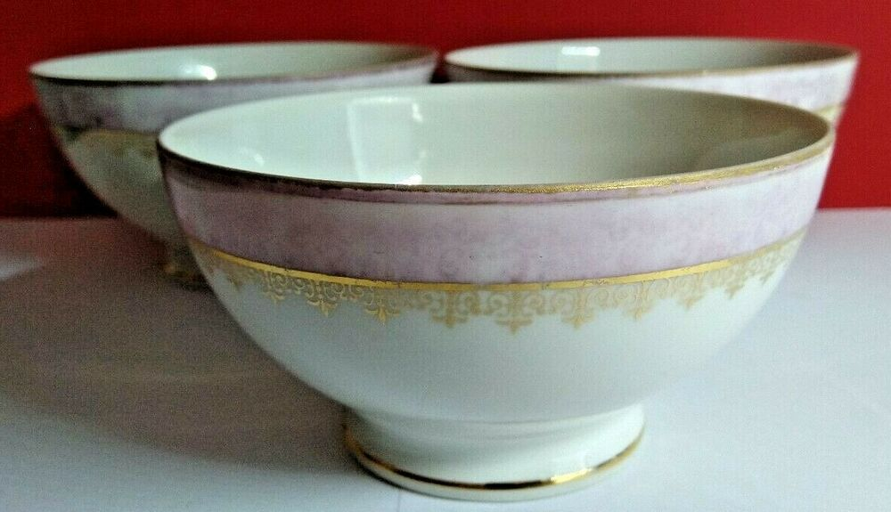 3 Vintage French Cafe Au Lait Coffee Bowls With Mauve Pink