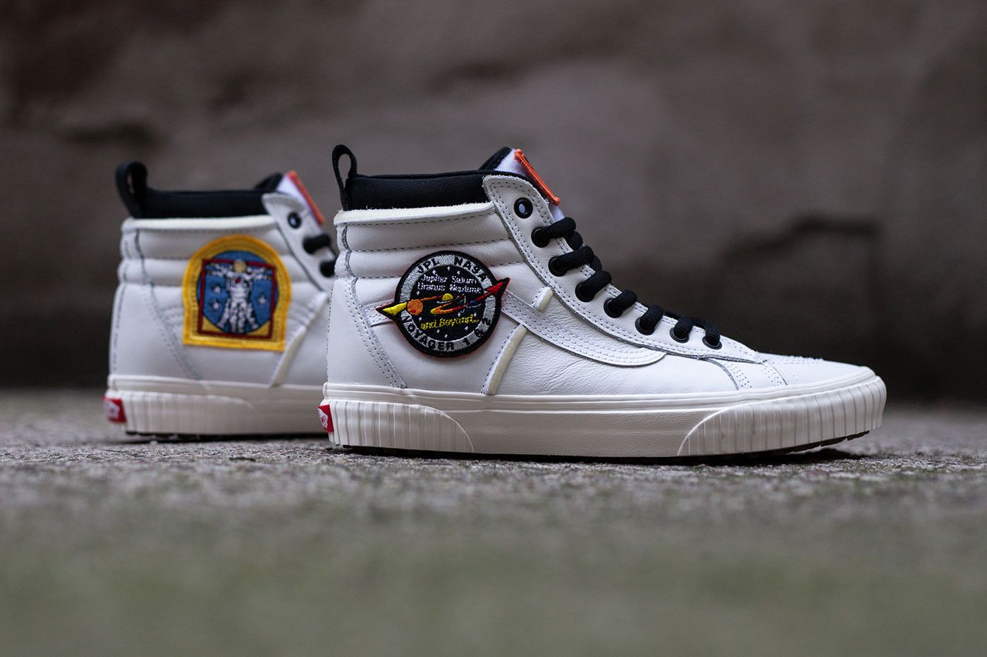 2568516db3 Vans Nasa Space Voyager Capsule Full Look Old Skool SK8-Hi True White  Firecracker orange Black info Release Date