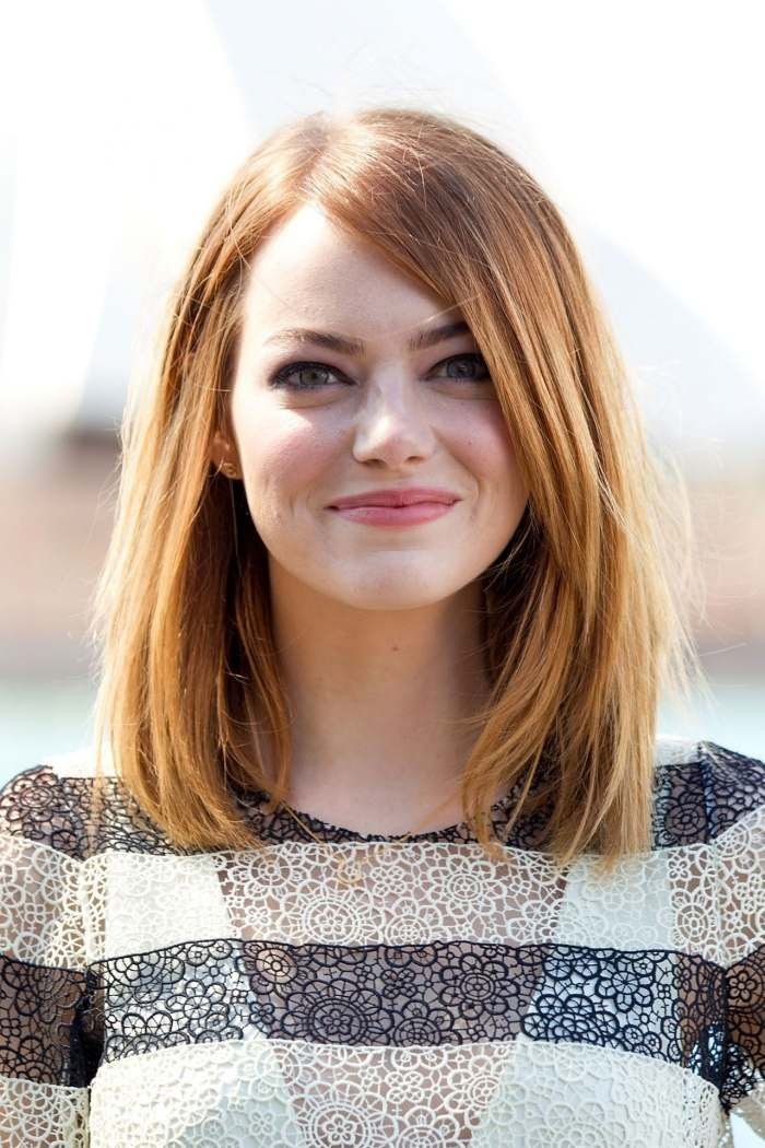 long bob frisur mit langem schr gem pony emma stone. Black Bedroom Furniture Sets. Home Design Ideas