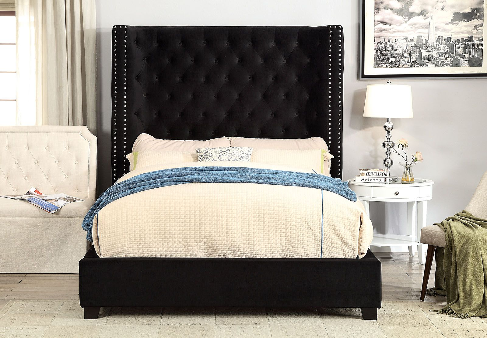 Cm7679bk Mirabelle Black Fabric And Tufted Tall Queen Headboard Bed Frame Set Furniture Bed Frame Sets Black Bedding