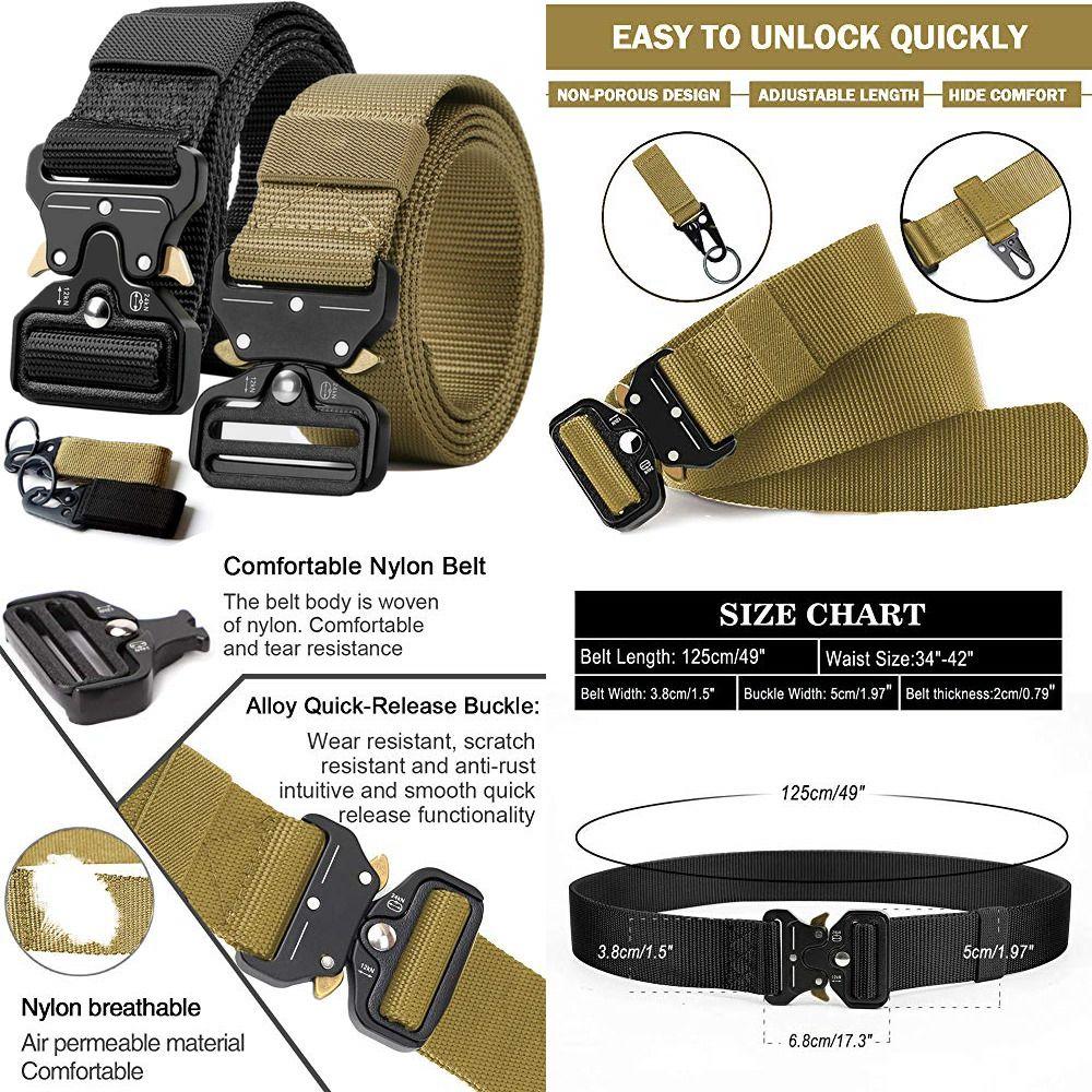 2PCS Tactical Belt Military Style Webbing Riggers Web Gun W
