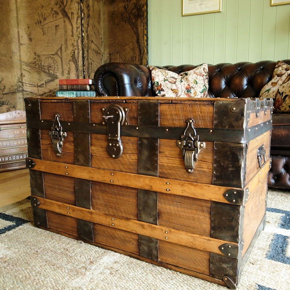 VINTAGE STEAMER TRUNK pine chest VICTORIAN TRAVEL TRUNK storage box ...
