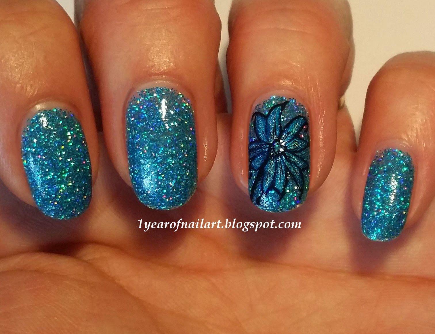 365 Days Of Nail Art Blue Holo Flower Nail Art Nail Arts Around