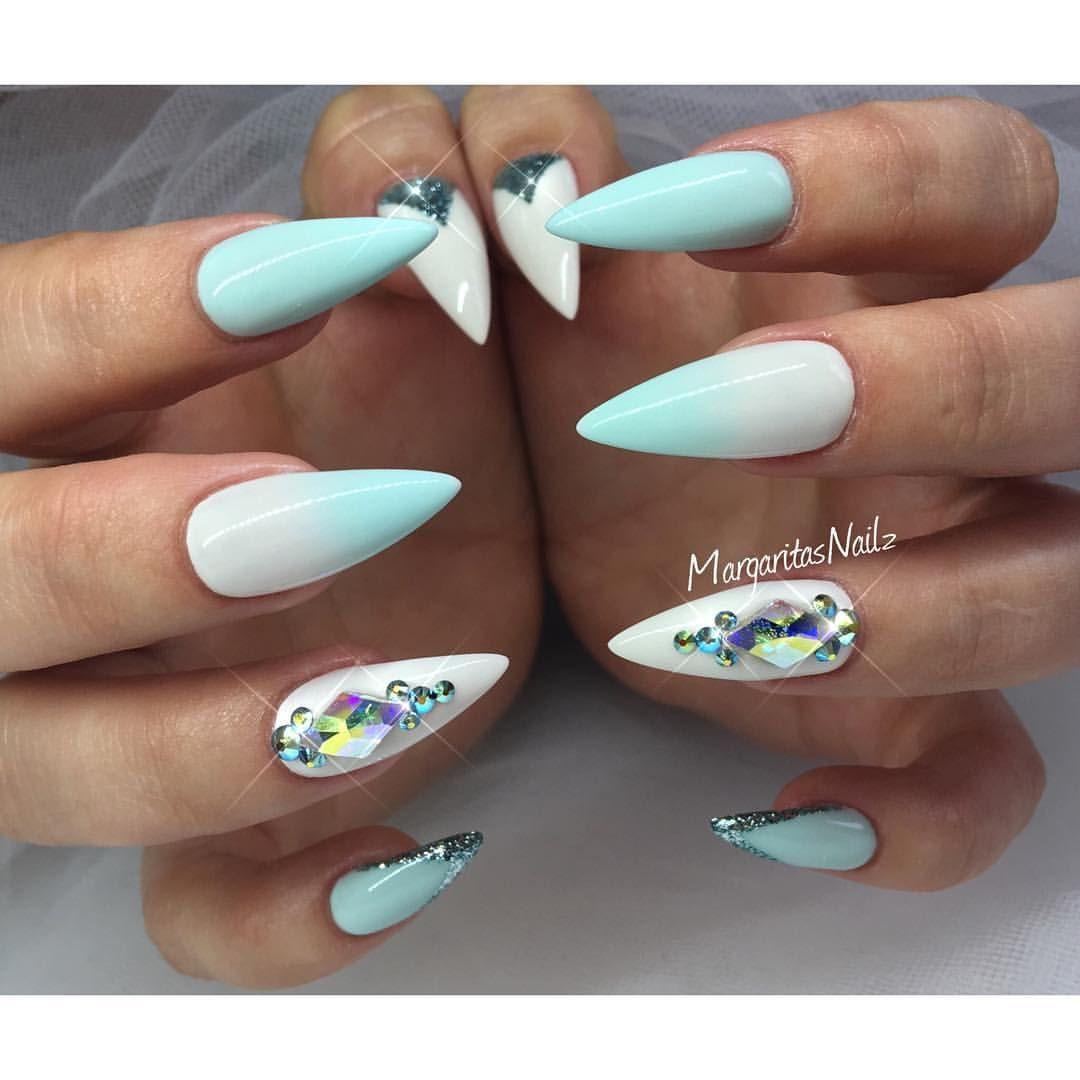 Summer Nail Design White Blue Ombre Stiletto Nails Blue White Nails Trendy Nails Swag Nails