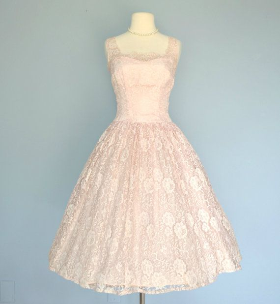 1950s Pink Lace Wedding Dress..JR. THEME Tea Length Wedding Dress ...